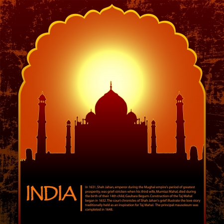 Indian Taj Mahal temple and old arch Vector