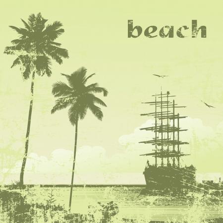 grunge  ship in ocean