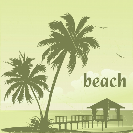 caribbean beach: grunge tropic beach palms and pier