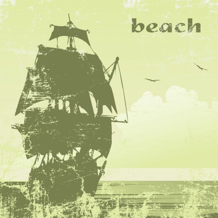 tall ship: grunge  ship in ocean