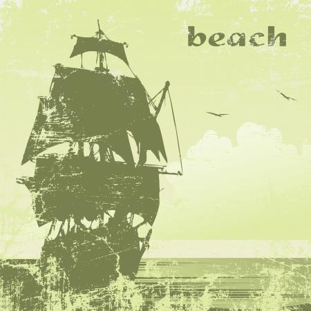 tall ship: grunge  ship in ocean