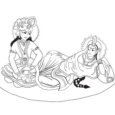 hindu goddess: hand drowning Radha-Krishna Illustration