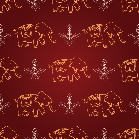 seamless red and yellow indian elephant wallpaper Vector