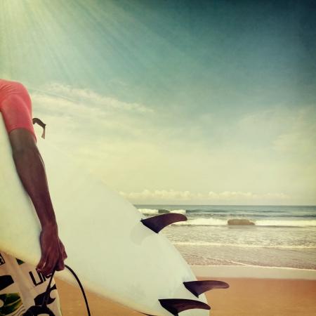 surfer: Vintage beach background