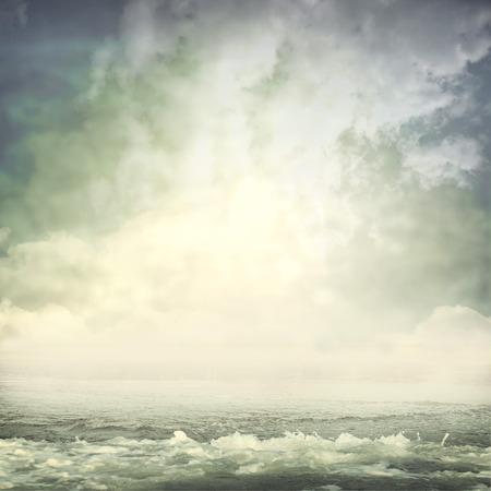 storm background: summer ocean beach panoramic view