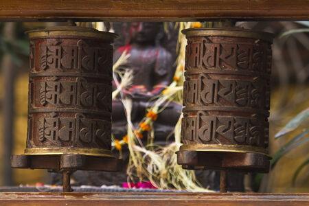 hinduist: prayer wheel, Nepa, Kathmandu Stock Photo