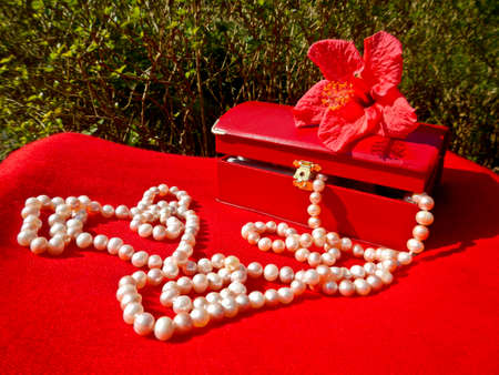 luxe: necklace of cultured pearls fell from a jewel box