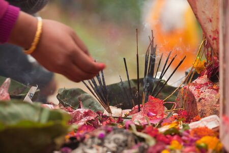 hinduist: close-up on an hindu worship, Kathmandu, Nepal Stock Photo