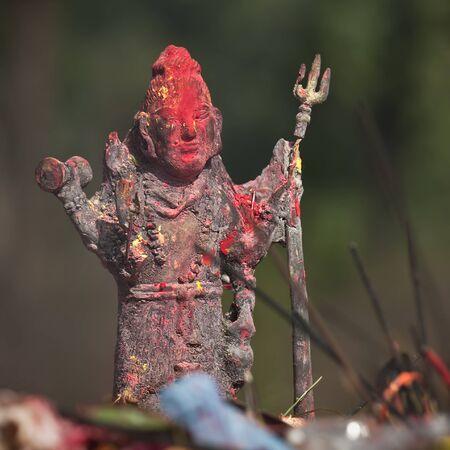 hinduist: Bronze statue of Lord Shiva, in an hindu temple, Bardia, Nepal