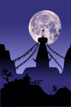 himalaya: illustration buddhist temple and full moon in Kathmandu, Nepal