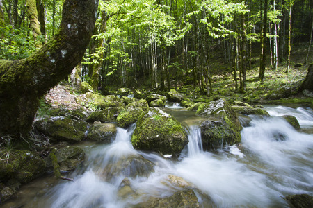 moutains: long exposure, waterfall in Jura moutains, France