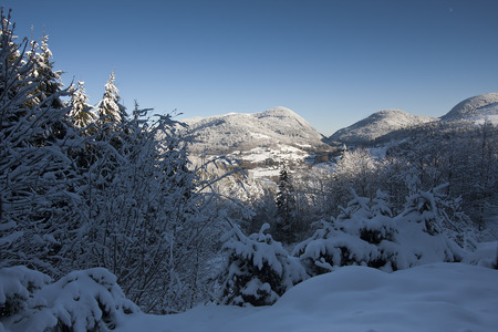 amazing landscape of snowy Vosges mountains, France Reklamní fotografie