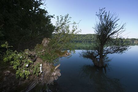 jura: landscape of Lac de Chalain, Jura France Stock Photo