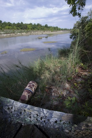 'hide out': look out the riverbank in Bardia National Park Nepal