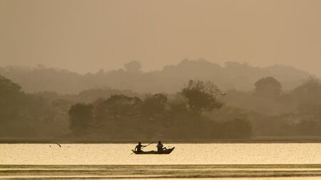 uncluttered: traditional fishermen on sunset,