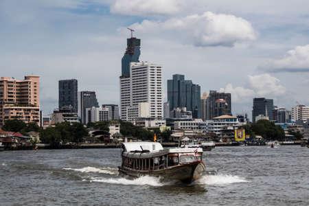 chao phraya: view on Bangkok Chao Phraya river and buildings