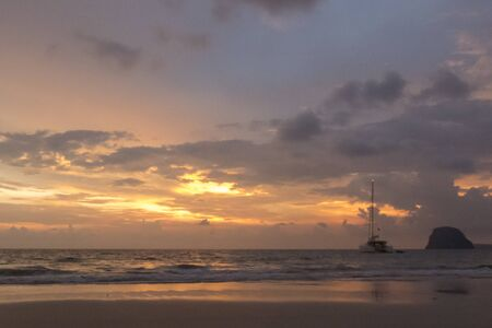 mook: Amazing sunset on Koh Mook Island, Southern Thailand