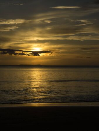 vertical format: amazing sunset, vertical format, Haad Yao beach, Trang, Thailand Stock Photo
