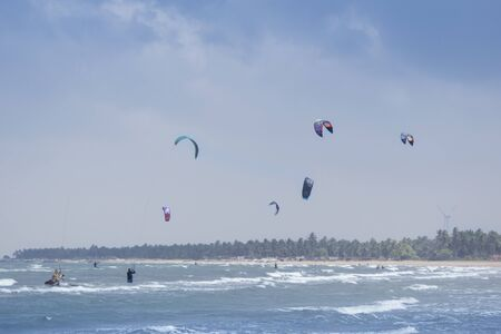 kite surfing: Kite surfing sport at Kalpitiya Lagoon, Sri Lanka Stock Photo