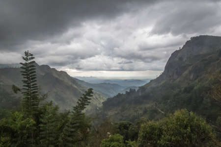 monsoon clouds: Ella amazing landscape of mountain under the rain, Sri Lanka