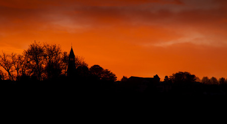 amazing sunset in a typical village, Limousin, France