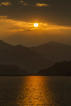 incredible sunset in Pokhara, Nepal 스톡 콘텐츠