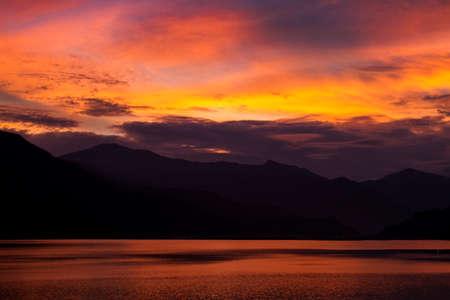 stunning sunset on Fewa Lake, Pokhara, Nepal