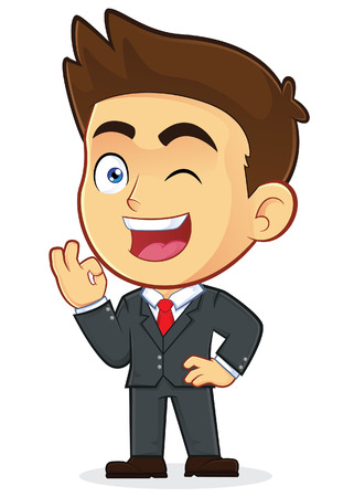 Businessman Gesturing Ok and Winking Vector