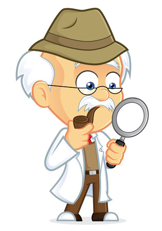 scientist man: Professor Detective Illustration