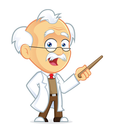 Professor Holding a Pointer Stick Ilustrace