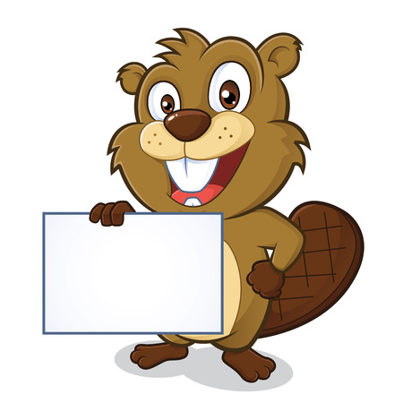 Beaver holding sign  イラスト・ベクター素材