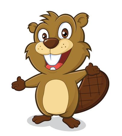 castor: Beaver en gesto de bienvenida Vectores