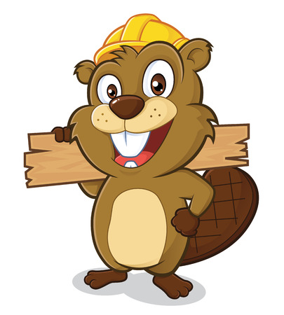 Beaver wearing a hard hat and holding a plank of wood