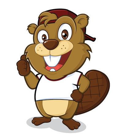 castor: Beaver con un sombrero y una camiseta blanca Vectores