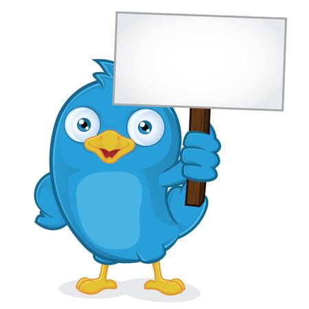 Blue Bird Holding Sign