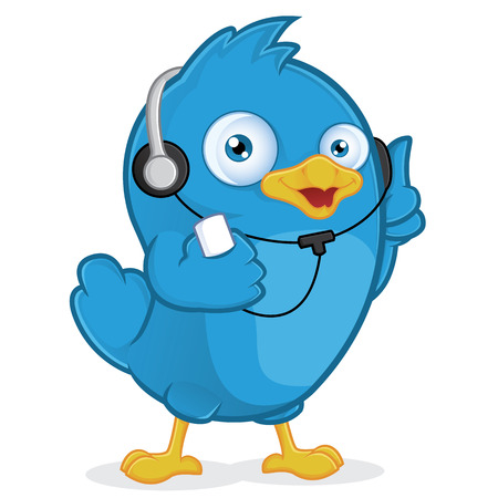 Blue Bird Listening to Music Vector