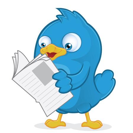 Blue Bird Reading a Newspaper