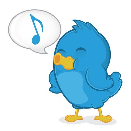 bluebird: Blue Bird Singing Illustration