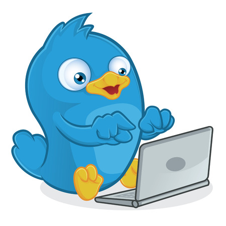 tweet: Blue Bird with Laptop