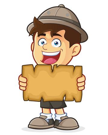 pfadfinderin: Pfadfinder-oder Explorer-Boy, die eine leere Karte