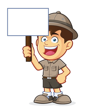 explore: Boy Scout or Explorer Boy Holding a Blank Sign