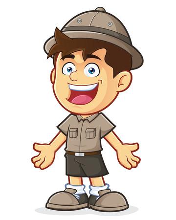 Boy Scout or Explorer Boy in Welcoming Gesture Vector