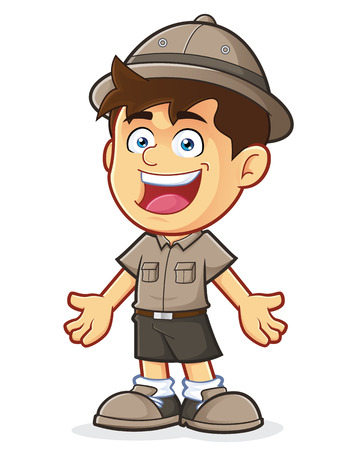 welcoming: Boy Scout or Explorer Boy in Welcoming Gesture