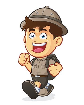 Boy Scout or Explorer Boy Walking Illustration