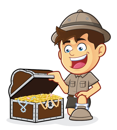 Boy Scout or Explorer Boy with a Treasure Chest Vector