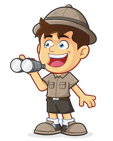 Boy Scout or Explorer Boy with Binoculars Vector
