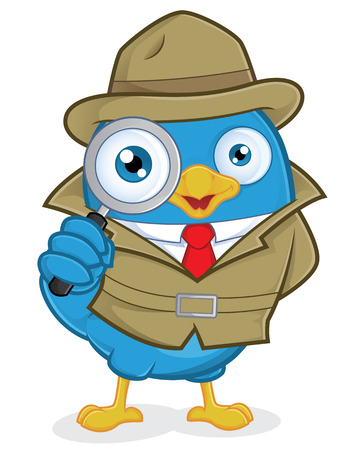 secret agent: Detective Blue Bird Illustration