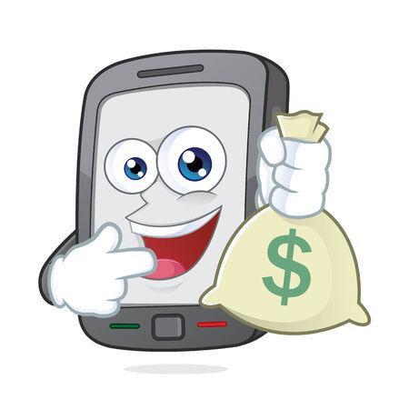cash money: Smartphone sosteniendo una bolsa de dinero Vectores