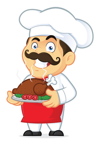 Chef Holding a Baked Chicken Vector