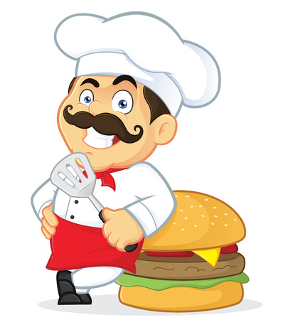 Chef with Giant Burger Vector